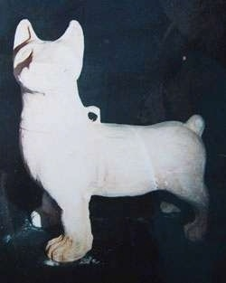 A Sculpture of the Chinese Chongqing dog made in a white material